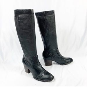 FRYE Black Leather Rory Scrunch Knee High Boots